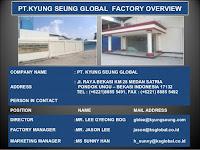 Info Loker Daerah Bekasi PT Kyung Seung Global Terbaru