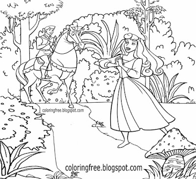Magical forest Sherwood Nottinghamshire horse riding prince & princess medieval coloring for teens