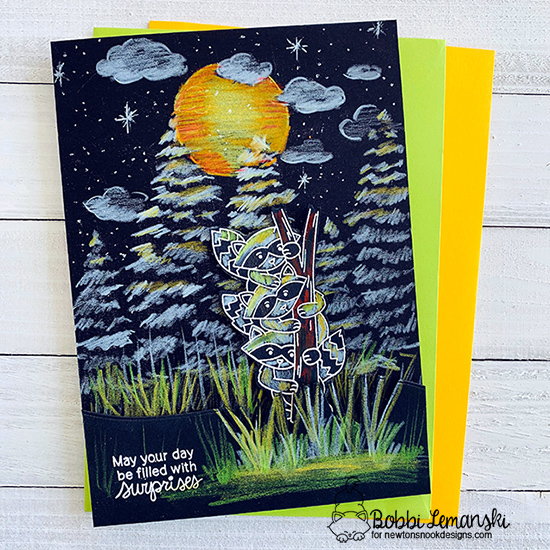 May you days be filled with surprises by Bobbi features Evergreens, Bokeh, Cloudy Sky, and Raccoon Rascals by Newton's Nook Designs; #newtonsnook