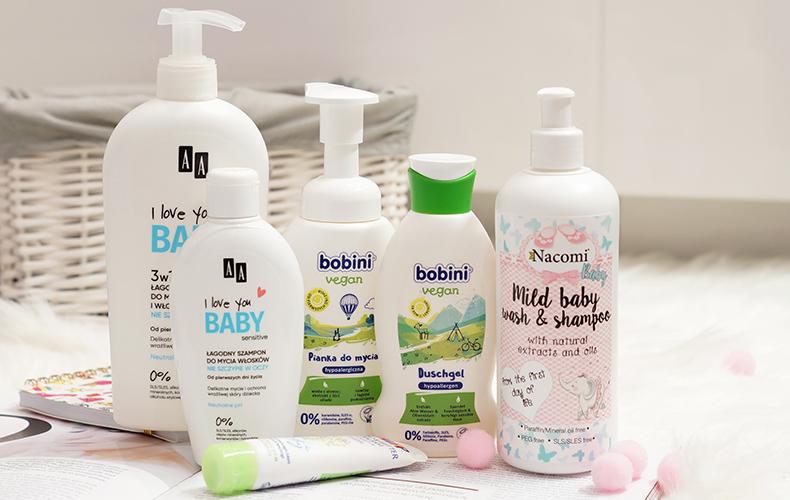 Kosmetyki do mycia dla dzieci: AA I Love You Baby, Nacomi Baby i Bobini Vegan