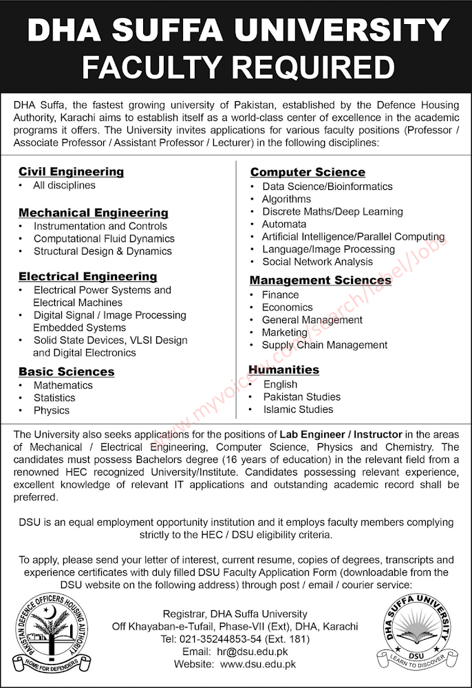#Jobs - #Career_Opportunities - #Job Opportunities at DHA Suffa University Karachi – For application details please visit the link