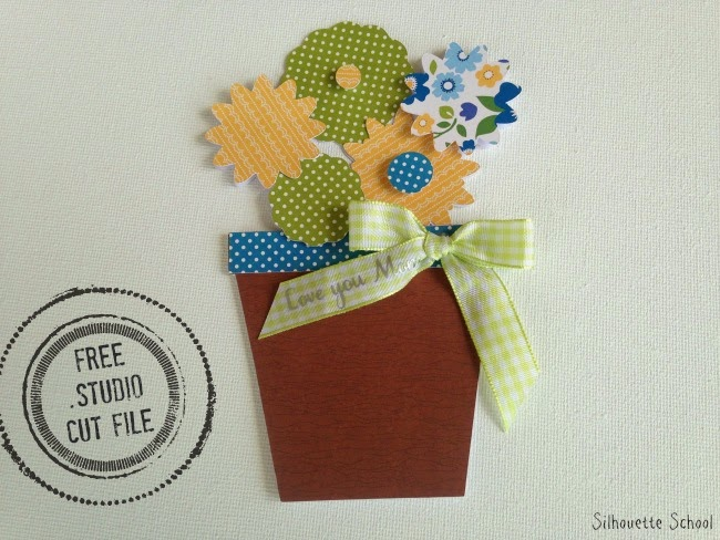 Silhouette Studio, free cut file, Mother's Day, flower pot, slide out card