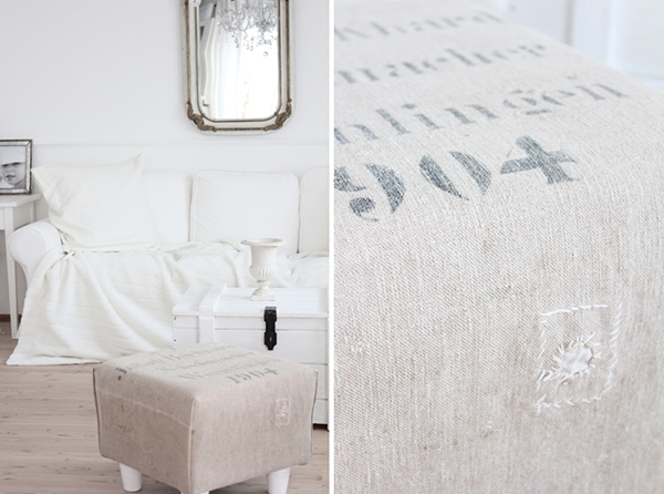 I LOVE the neutrals colours in this image. The embroidered shabby linen is a beautiful way to cover a stool. I love to mix of DIY and Vintage Style - This Is A Stunning Version of Neutral Shabby Chic Style