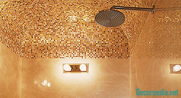 bathroom ceiling designs 2019, golden mosaic ceiling for bathroom