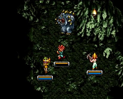 Crono, Marle, and Lucca battle Heckran, the master of Heckran's Cave in 1000 AD