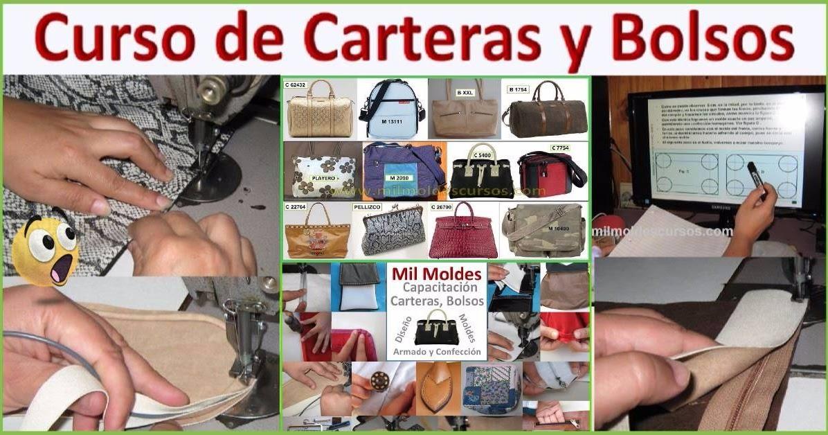5702db054 CURSO de DISEÑO, MOLDES y CONFECCIÓN de CARTERAS y BOLSOS en CUERO y TELAS  !! | Curso de Capacitación en Carteras y Bolsos, Mil Moldes