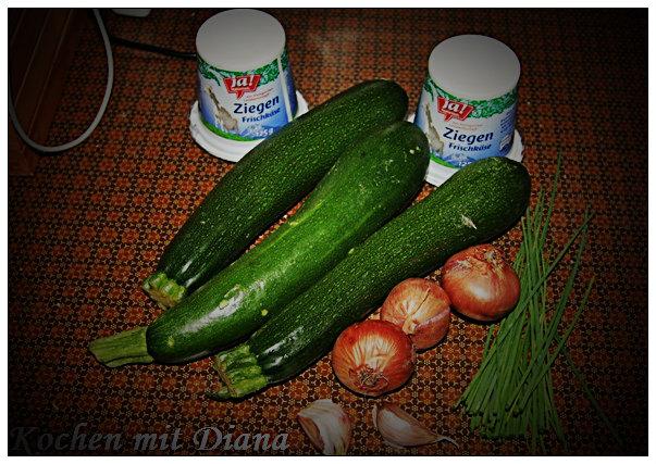 Zutaten Zucchiniröllchen mit Frischkäsefüllung