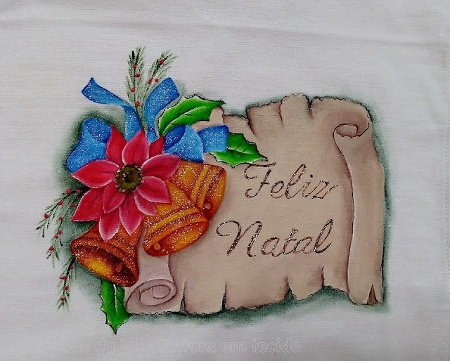pintura tecido pergaminho com sinos laço azul e flor bico de papagaio