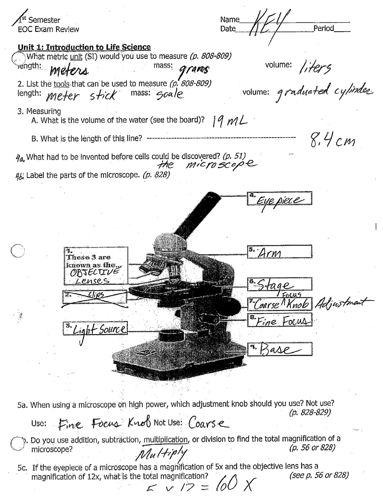 7th Grade Life Science Eoc Review Answers Pages 1 3 Click On Image To Enlarge
