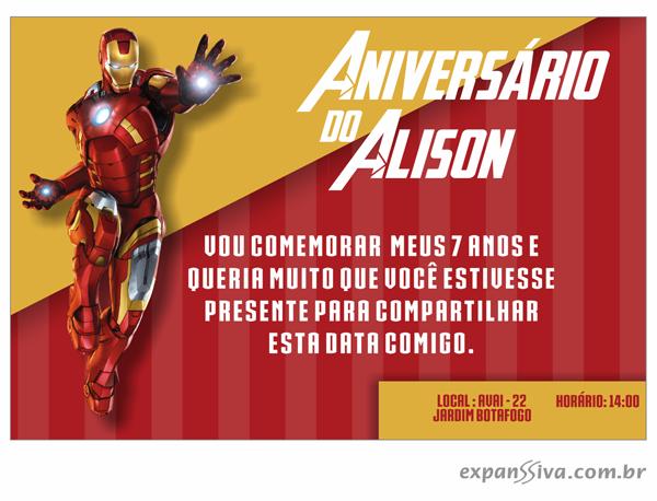 Convites de Aniversário do Homem de Ferro - top