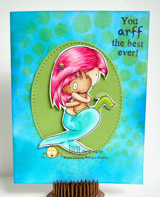 Mermaid card with a dog. Image by Kinda Cute by Patricia Alvarez