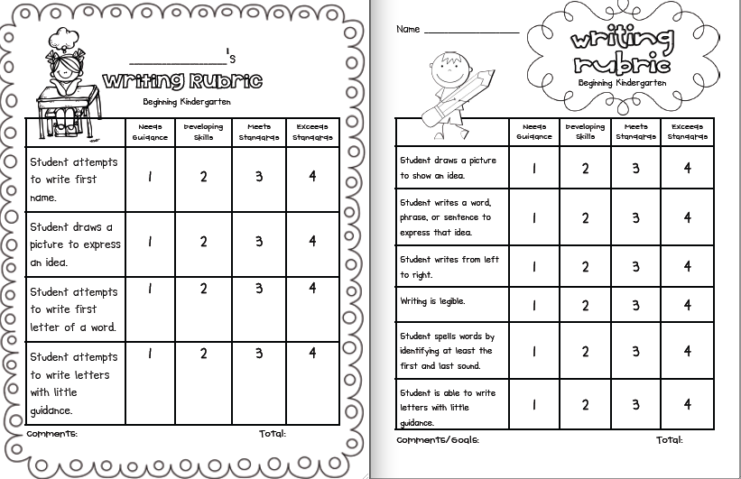 Kindergarten Rubric Coloring Pages