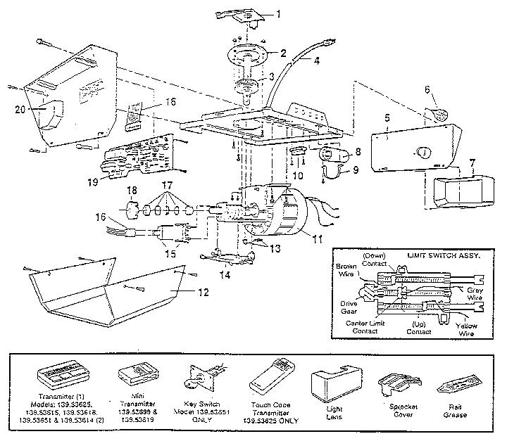 craftsman garage door opener parts diagram