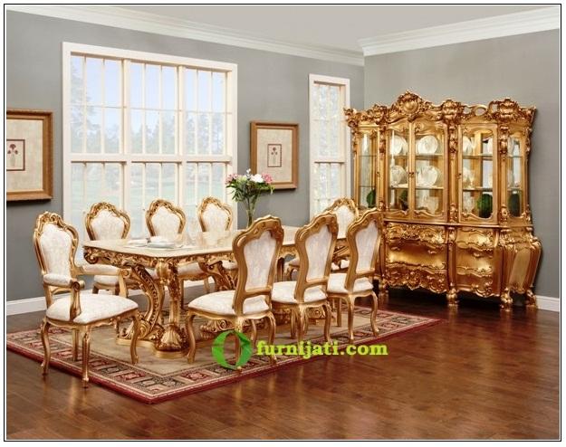 kursi dan meja makan kayu jati