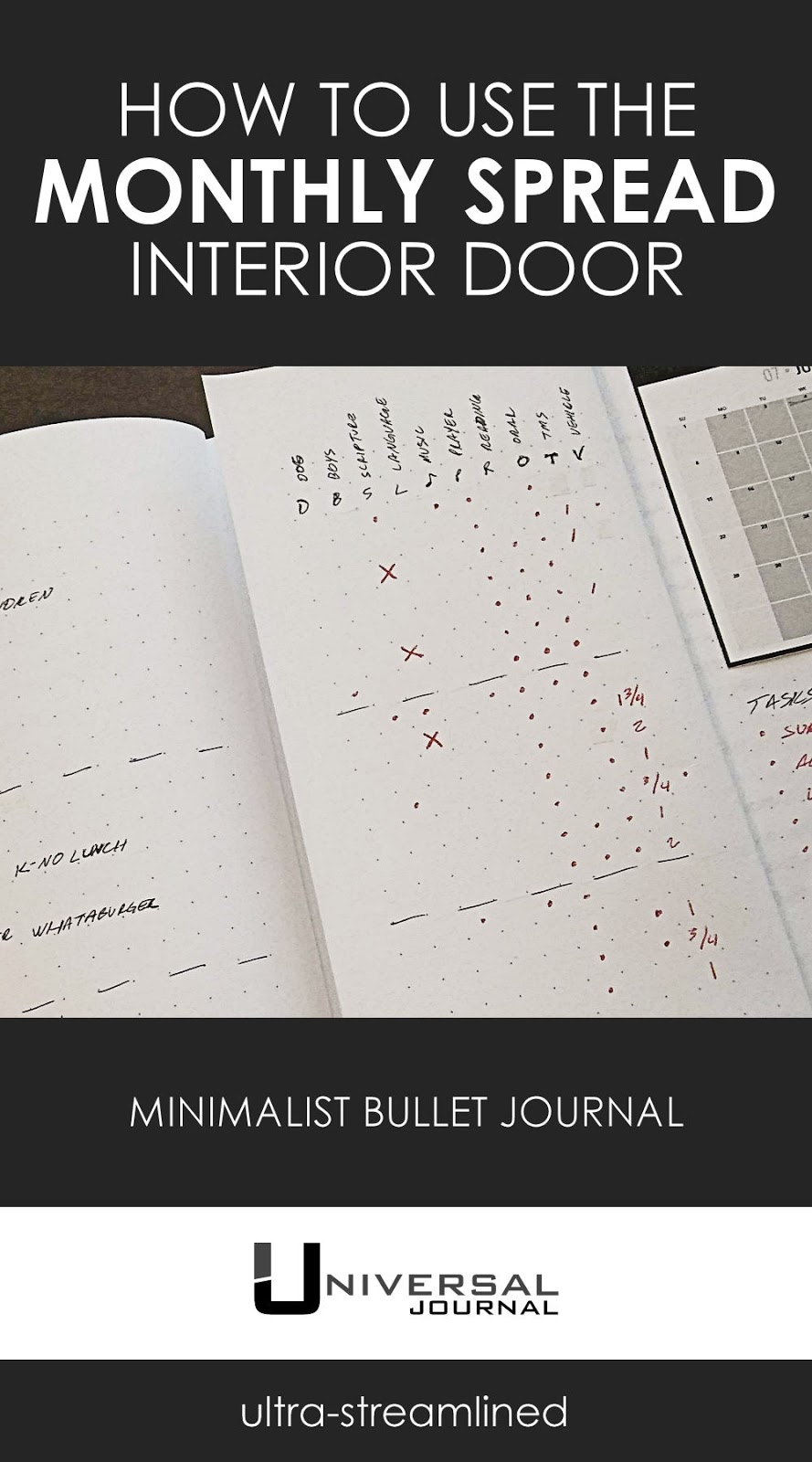 bullet journal minimalist monthly spread interior door