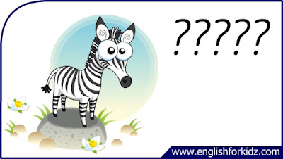 zebra flashcard, cartoon zebra image, esl flashcard