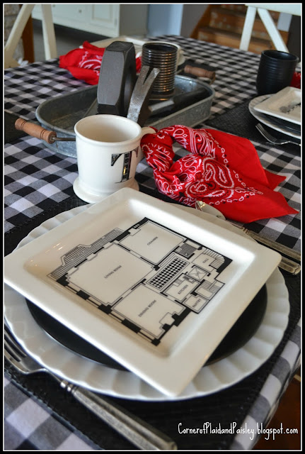 Home Remodel Tablescape- putting the tools on the table!