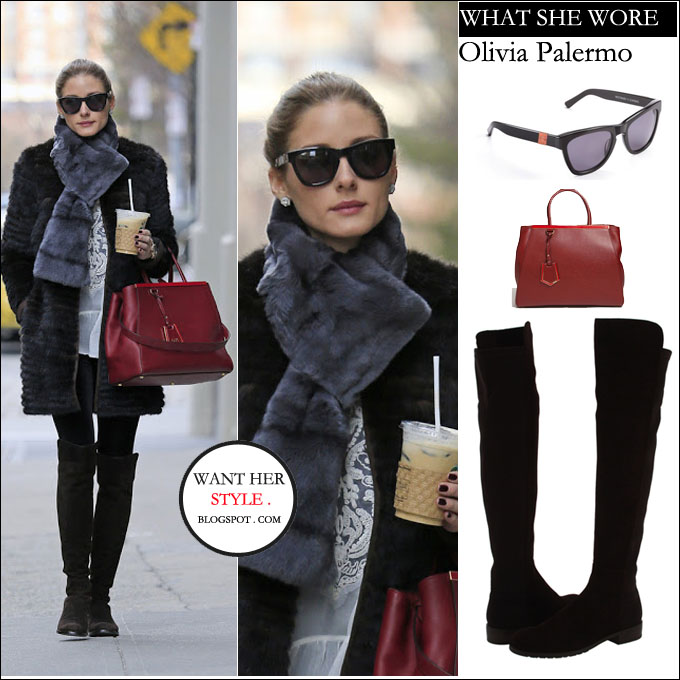 ee7326a04c WHAT SHE WORE  Olivia Palermo in fur coat with tall black suede boots and  red leather bag in New York on April 7 ~ I want her style - What  celebrities wore ...
