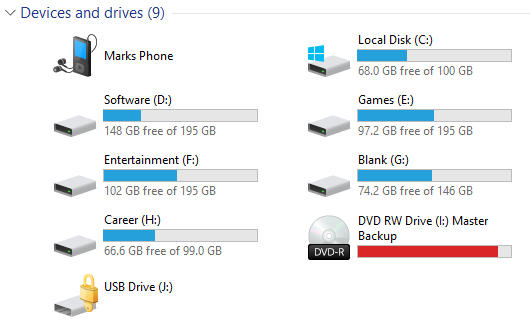 Windows 10 Hard Drives List