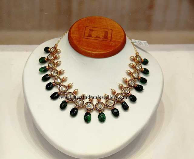 Emerald Polki Necklace for Parties