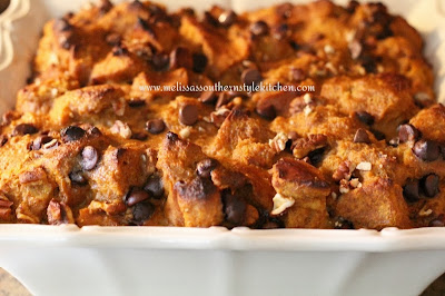 Pumpkin Spice Bread Pudding With Chocolate Chips Pecans And A Brown Sugar Rum Sauce