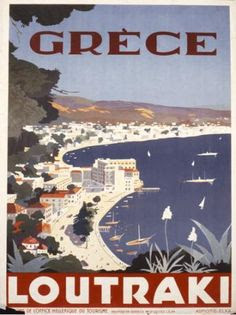 Vintage French travel poster for Loutraki Greece