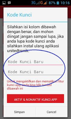 kotak pilihan aktifasi kode kunci