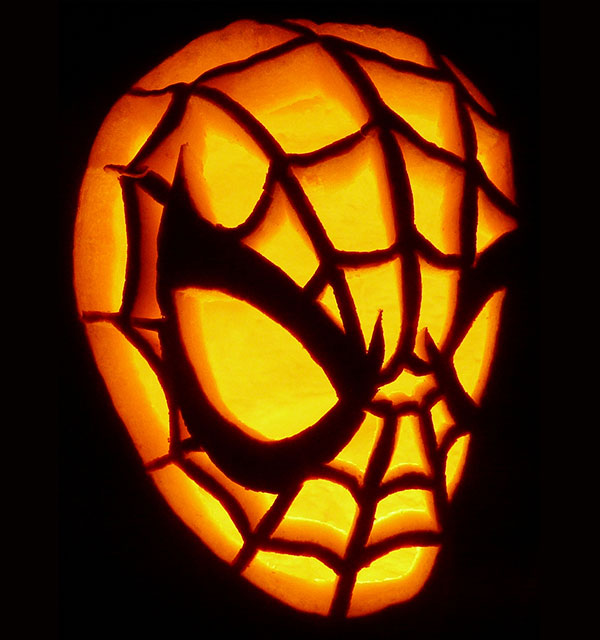 Free spiderman pumpkin stencil carving pattern designs for Architecture pumpkin stencils