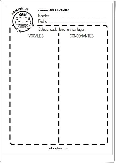 Vocales, consonantes, mayúsculas y minúsculas (Fichas de recortables)