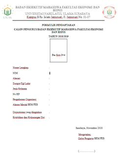 surat pendaftaran organisasi mahasiswa kampus