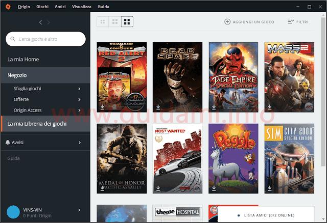 Origin client desktop sezione Libreria dei giochi