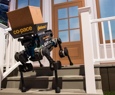 Robot dogs are, strangest parcel delivery system we have seen, robot, robots, CES 2019, CES 2019 news, news, car, cars, parcel delivery by the robot dog, robot dog, tech, tech news, technology, news,