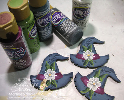 rosemaling witch pins with paints