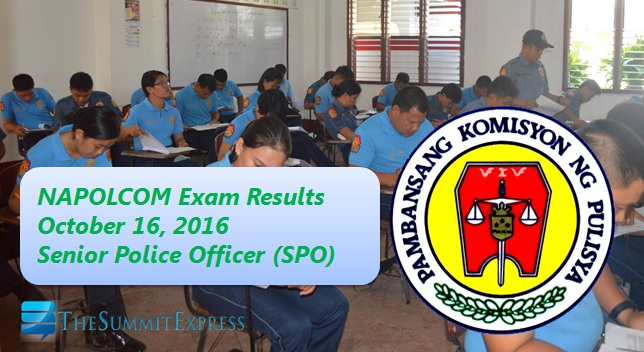 Senior Police Officer List of Passers: October 2016 NAPOLCOM exam results