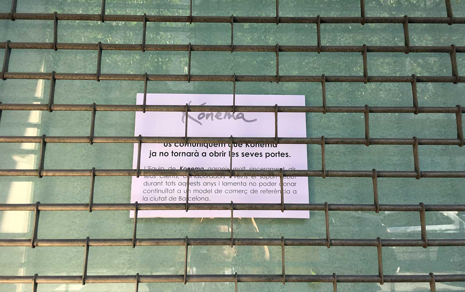 Konema ha cerrado (Barcelona, 1972 - 2019)