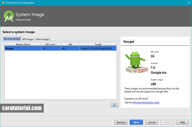 System Image Android Virtual Device (AVD)