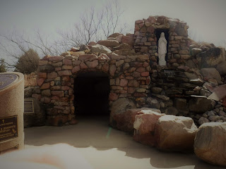 reproduction Lourdes grotto at Trinity Heights in Sioux City, Iowa