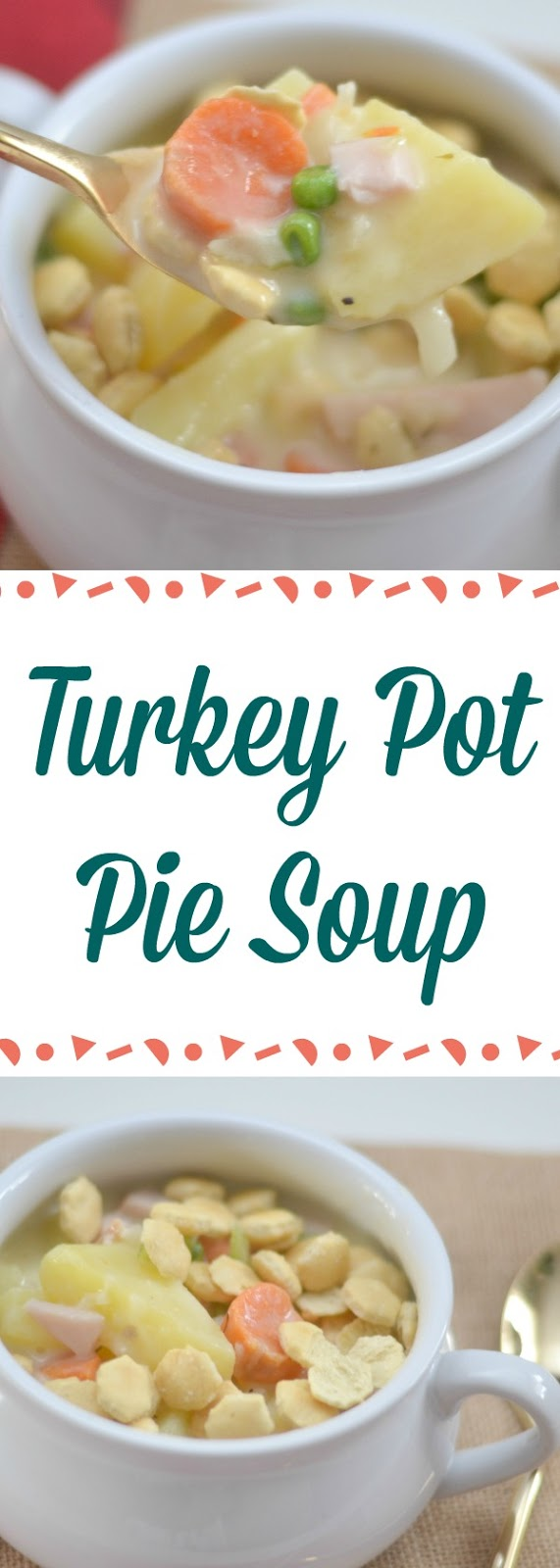 Turkey Pot Pie Soup, I've turned my favorite way to use up leftover turkey from my favorite baked pot pie to a totally comforting soup, Leftover Turkey Pot Pie Soup, Turkey Pot Pie Soup - great for Thanksgiving leftovers! This is an easy lunch or dinner recipe, easy soup recipes, chicken pot pie soup recipe, leftover turkey recipes, what to make with leftover turkey, Turkey Pot Pie Soup - Perfect way to use leftover Thanksgiving turkey!