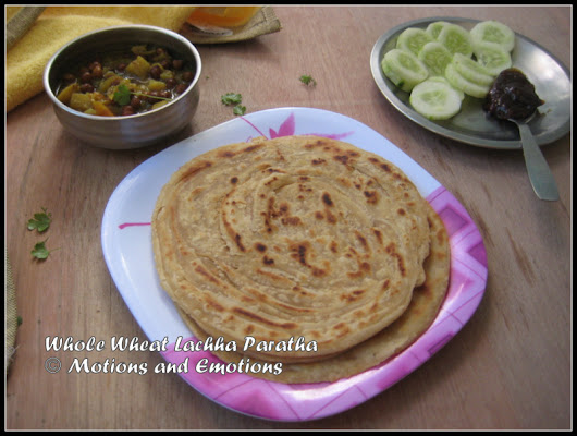 Whole Wheat Lachha Paratha / Multilayered Indian Flat Bread