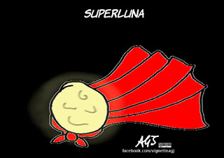 superluna, astronomia, scienza, umorismo, vignetta