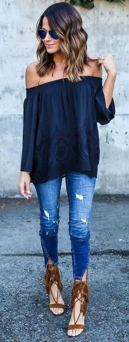 boho style outfit idea: shirt + rips