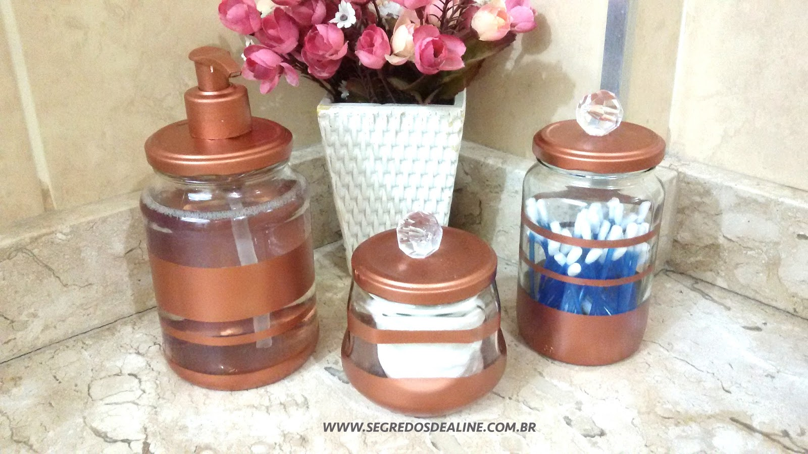 Adesivo Para Desentupir Vaso Sanitário Onde Comprar ~ Segredos de Aline Pote de Vidro Decorado