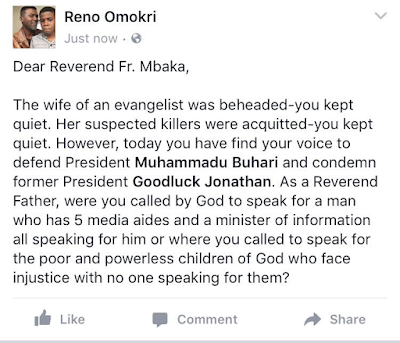 Message to Reverend Mbaka from Reno Omokri