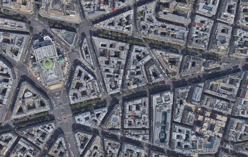 La Ópera Garnier desde el satélite
