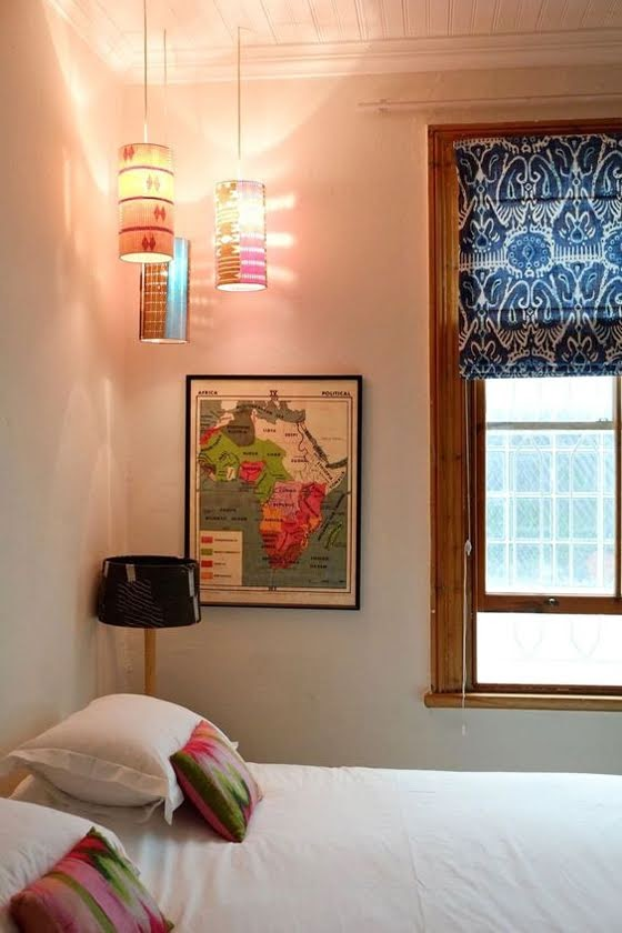 Safari Fusion blog | Map it | Vintage Africa Map (political) in an eclectic Cape Town home via Apartment Therapy