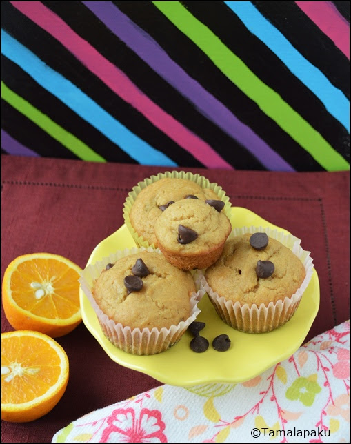 Eggless Whole Wheat Orange Choco Chip Muffins