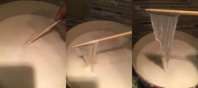 Photo showing author using a chopstick to remove the tofu skin (yuba) from the surface by slipping it under the skin and lifting it off. https://trimazing.com/
