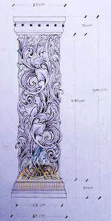 Desain sketsa gambar pilar rumah dari batu alam paras jogja, batu putih