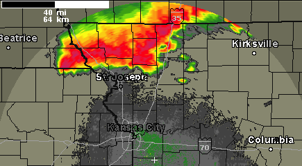 HD Decor Images » severe weather   Mike Smith Enterprises   Page 3 Below is the Doppler wind speed display from the Kansas City International  Airport Terminal Doppler Weather Radar  The deep blue   winds of 75 mph or  more