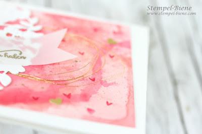 Reihenweise Grüße; Für Freunde; Aquarellkarte; Karte Hochzeitstag; Valentinstagskarte; Stanze Blühendes Herz; Stampinup; Stempel-biene